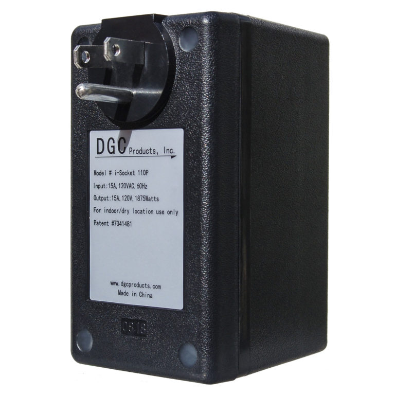 i-Socket Plus automatic dust control switch, large three-quarter left facing view of back